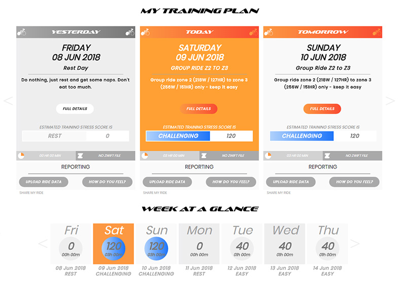 Formfinder training plan screenshot